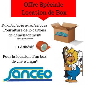 Offre spéciale location de box Sanceo